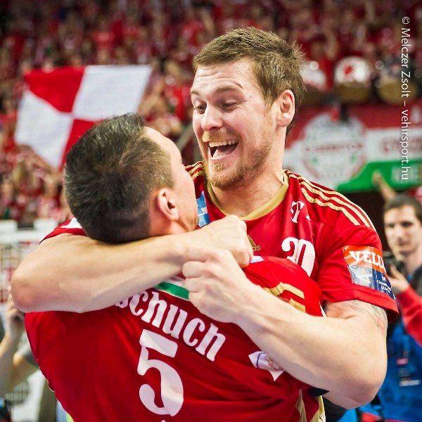 Terza és Timu, celebration, ünneplés, győzelem, victory, PSG, MKB Veszprém, piros, red, őszinte öröm, happy, joy, yes factor, lovely young fresh fathers, Schuch Timuzsin, Mirsad Terzic  photo: Zsolt Melczer