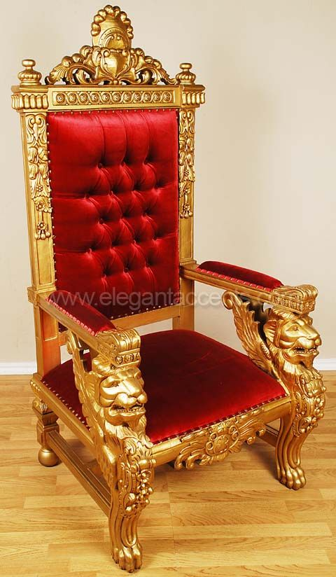 Winged Lion Throne Chair - Gold