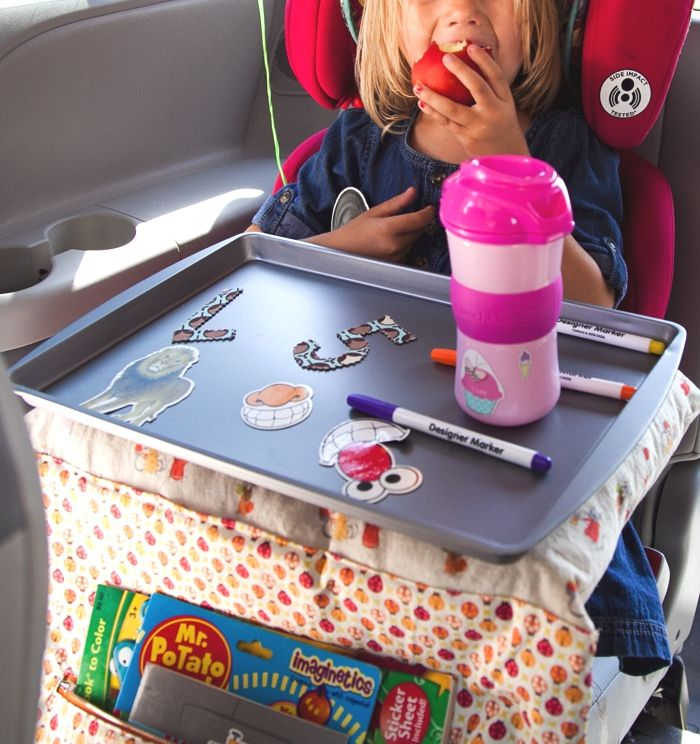 Pinner said- Between road-trips, carpools and a million errands, kids spend many hours of their life buckled up in the car. Our recent Summer road-trip inspired me to create a DIY Lap Tray that could work for crafts, activities, snacks and even a nap on-the-go.