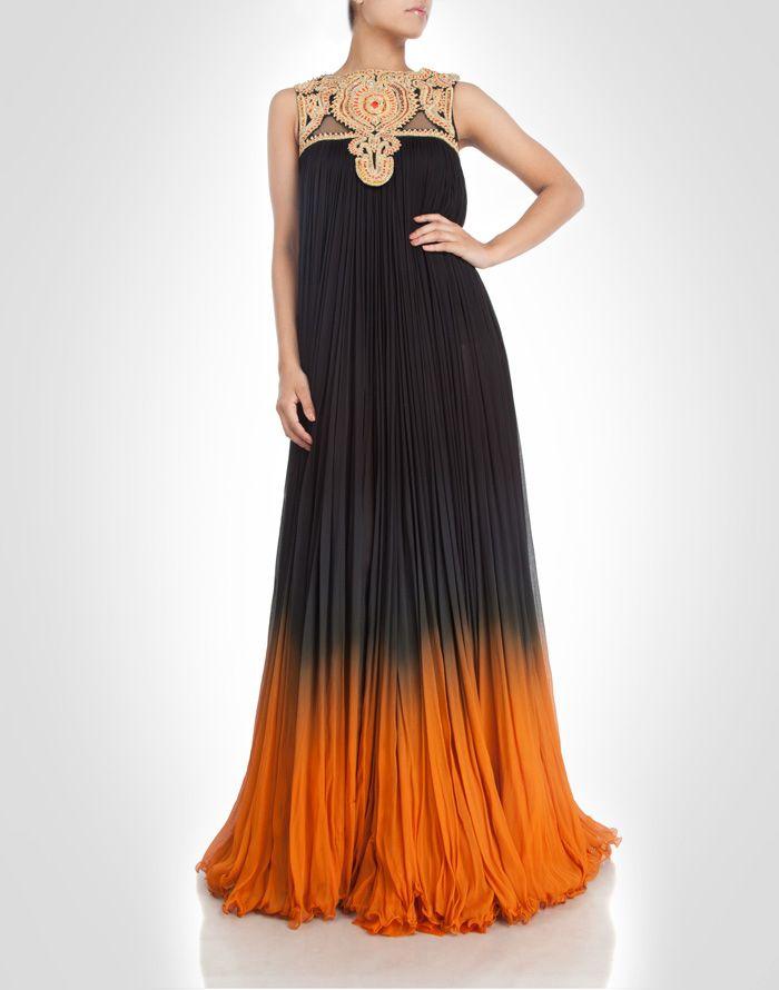 Multi-toned chiffon gown embellished with zardosi & gota work. Shop Now: www.kimaya.in