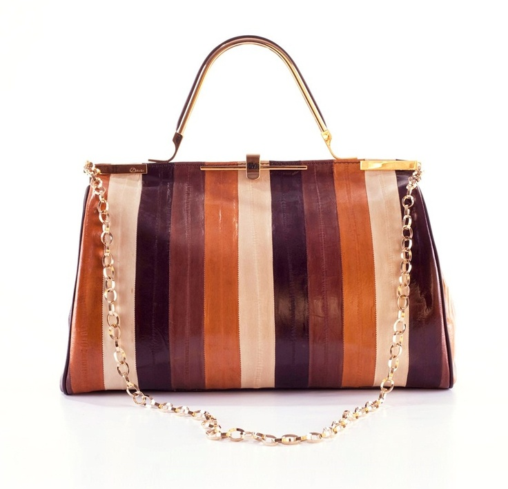 Hamlet bag: from handbag to maxipochette with a simple gesture. In multicolor eel (cognac, brown, ice and bark). Satin lining and brown trim light gold. http://flooly.com/gb/zanchetti-women-small-leather-bag/13755