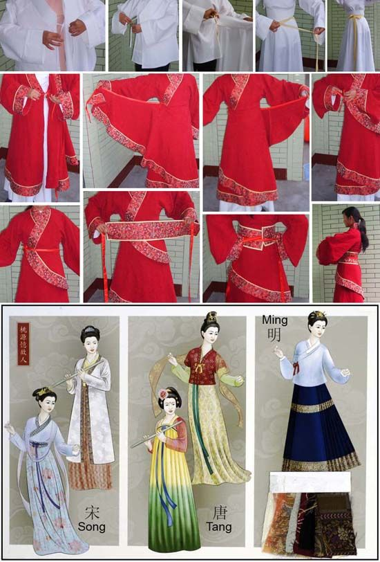 Chinese hanfu: the pictures show how different layers are put on, shows how you get the muliple hem lines.