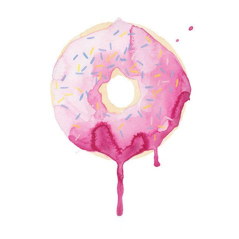 Pink Donut Watercolor Print  eewww it looks like a scrumptous pink iced sprinkle doughnut to me  right kristin?