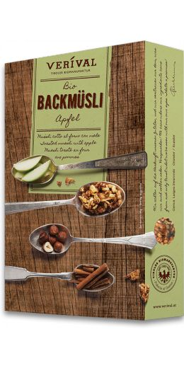 TOASTED MUESLI WITH APPLE: Puffed barley and oats with a mixture of apples, nuts and cinnamon. Lightly sweetened with an apple and honey purée, then gently toasted. 100% organic and wonderfully crunchy.