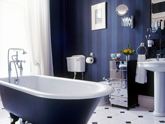 Art Decorations On Blue Stripes Wall Sticker With White Window Curtain Mixed With Blue And White Bathtub On White Floor Classy Blue Bathroom Ideas In