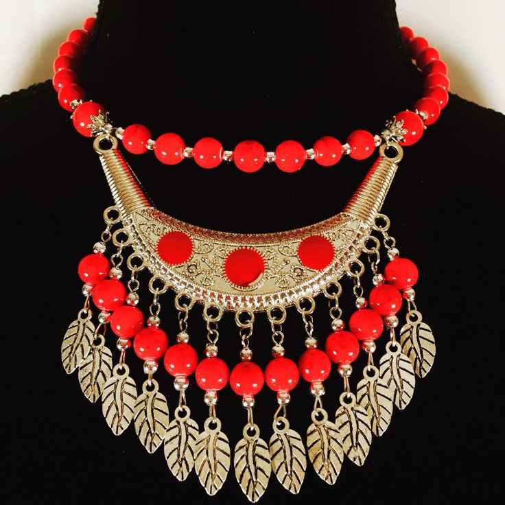 Handmade Boho bohemian beaded choker necklace.