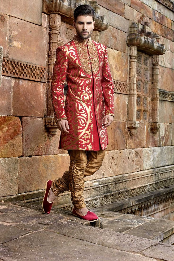 Image result for red brocade sherwani