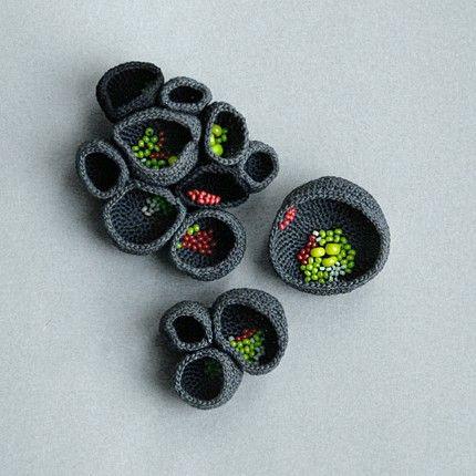 These are stunning. I wish my crochet skills were this refined!   nest brooches- Lana Bragina
