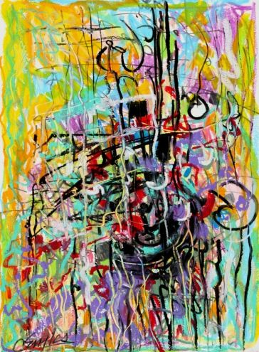 Mardi Gras, oil pastel painting by Carol Engles -- Carol Engles