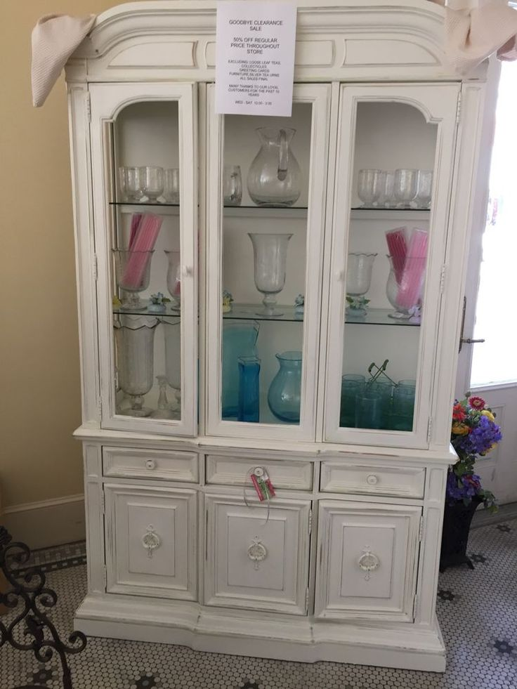 chic shabby vintage white china cabinet excellent condition