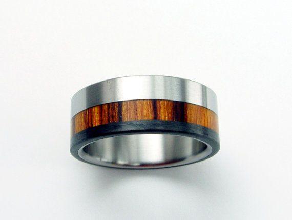 titanium and carbon fiber wood wedding ring for him love it - Carbon Fiber Wedding Rings