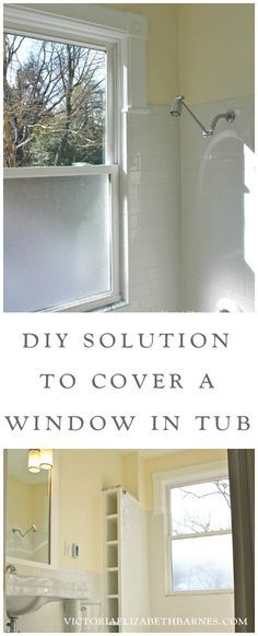 Our old-house bathroom has a large window IN the shower...  See our DIY solution to cover it... and the entire before-and-after remodel!
