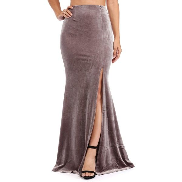 Taupe Velvet Sea Mermaid Skirt ($39) ❤ liked on Polyvore featuring skirts, high-waisted skirts, red high waisted skirt, high waisted mermaid skirt, high rise skirts and front slit skirt