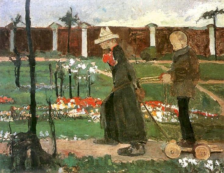 Za murem (Przechadzka w zaprzęgu).  1906. Olej na płótnie. 46 x 61 cm.  Muzeum Sztuki, Łódź.    http://www.pinakoteka.zascianek.pl/Wojtkiewicz/Images/Za_murem.jpg