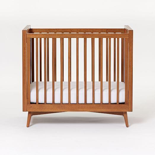 Mid Century Mini Crib Amp Mattress Set White Cribs Mid