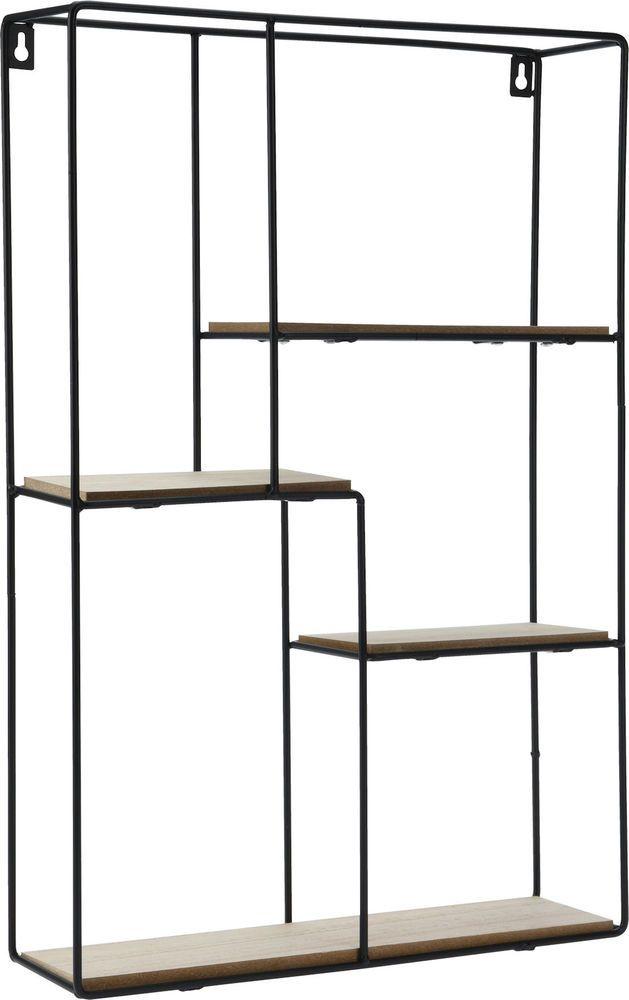 Design Wandregal 55x37 Cm 4 Holz Ablagen Metall Hangeregal