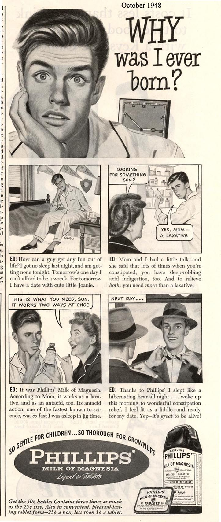 (1948)  Yikes...that must be one serious case of constipation if you are contemplating your own existence.