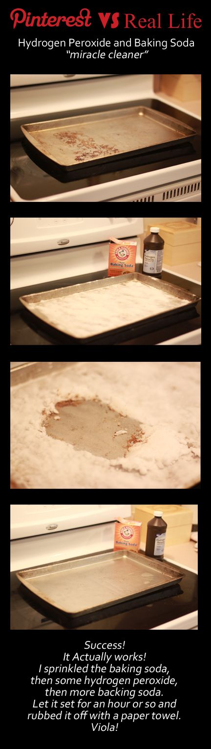 This actually works! Hydrogen Peroxide and Baking soda IS a miracle cleaner!  As seen on: http://www.onegoodthingbyjillee.com/2012/05/new-life-for-old-cookie-sheets-again.html