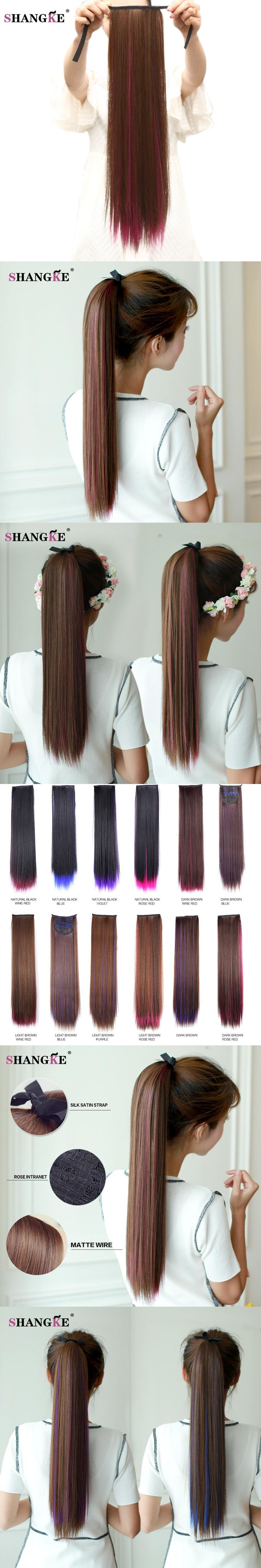 SHANGKE 24'' Long Straight Ponytails Clip In Ponytail Claw Drawstring Ponytail Heat Resistant Clip In Hair Extensions Natural