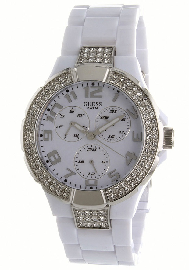 Price:$124.11 #watches Guess W13564L1, Stainless steel case, Plastic bracelet, White dial, Quartz movement, Scratch-resistant mineral, Water resistant up to 5 ATM - 50 meters - 165 feet