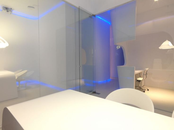 Marvelous Modern Minimalist And Futuristic Office Interior Design With Glass  Partitions, Blue Glowing Light, And Stylish Desk Ideas: Modern Minimalist  And Futuristic ... Amazing Pictures