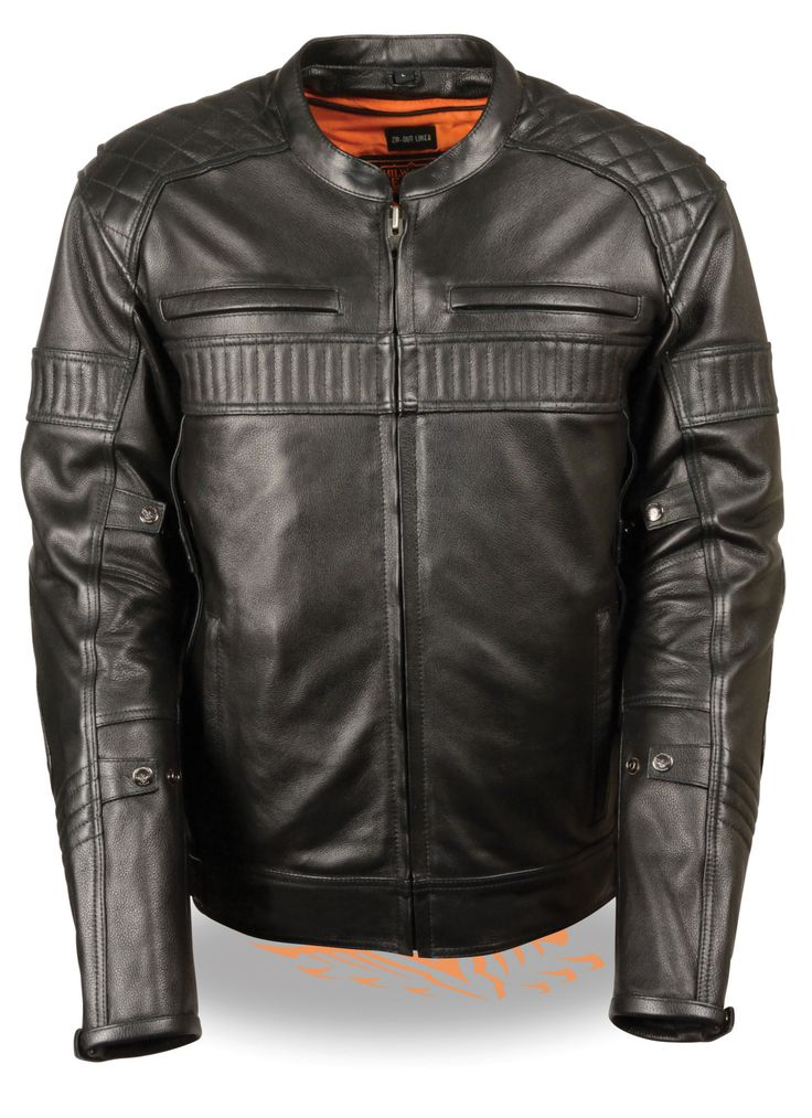 MEN'S MOTORCYCLE BLACK SCOOTER LEATHER POLICE JACKET