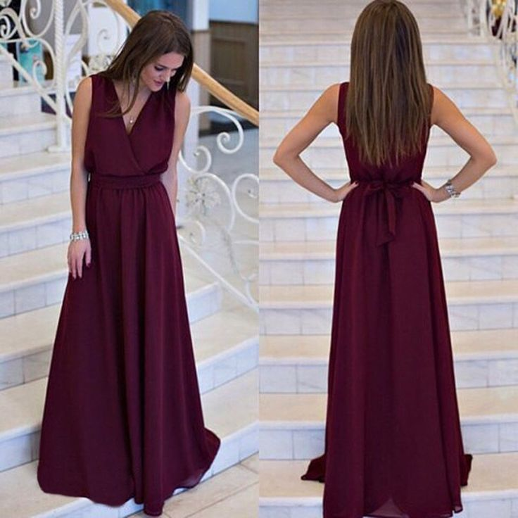 V-neck Sleeveless Lace Up Pleated Solid Long Dress - Oh Yours Fashion - 2