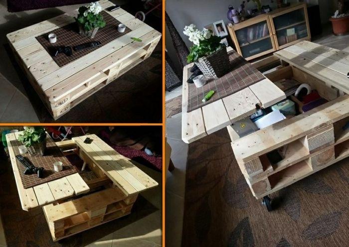 Bricolage table basse extensible de palettes