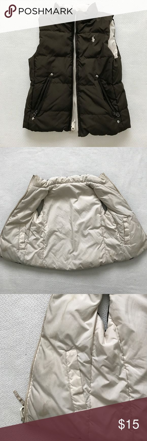 Boys or Girls reversible puff vest brown white good condition, normal wear.  Has stain. ralph lauren Polo Jackets & Coats Puffers