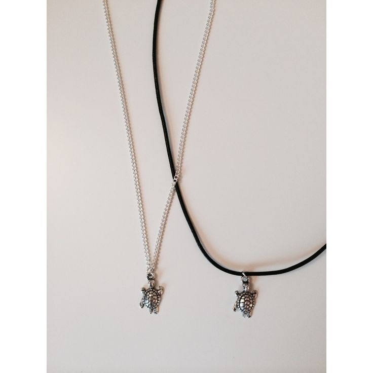 Our Tortoise charm is available on black leather cord or on a silver plated chain.