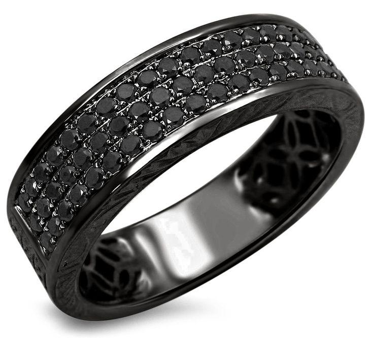 Mens .55ct Black Round Diamond Pave Wedding Band Ring 14k Black Gold