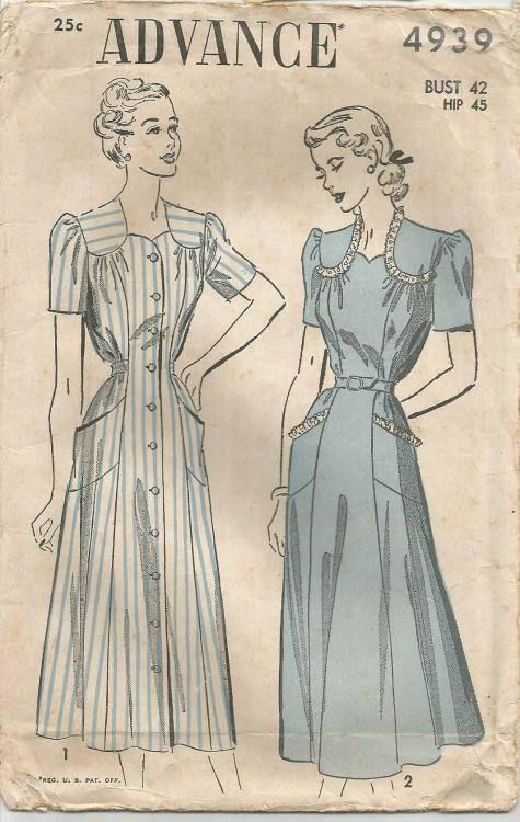 1940s Women's Full Figure Dress Pattern Sweetheart