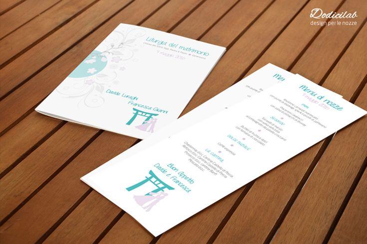 Dettaglio wedding stationery personalizzata tema giappone tiffany