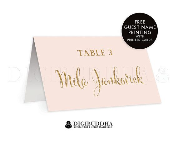 Pink + Gold TENTED PLACE CARDS Wedding Escort Label Folded or Flat Placecards Blush Pink Gold Glitter Modern Rehearsal Dinner - Mila style available at digibuddha.com