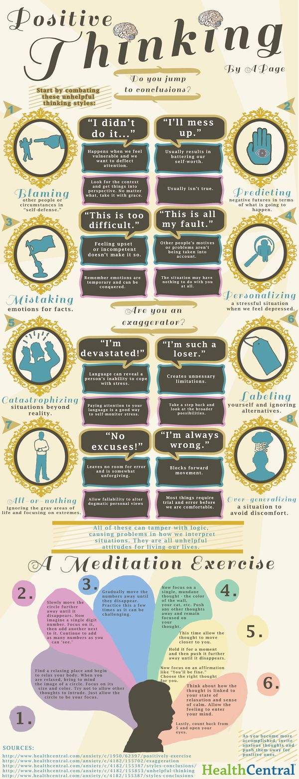 Positive thinking and meditation exercises. Good reminder for me but great for our teenagers. (And the preteen too!)