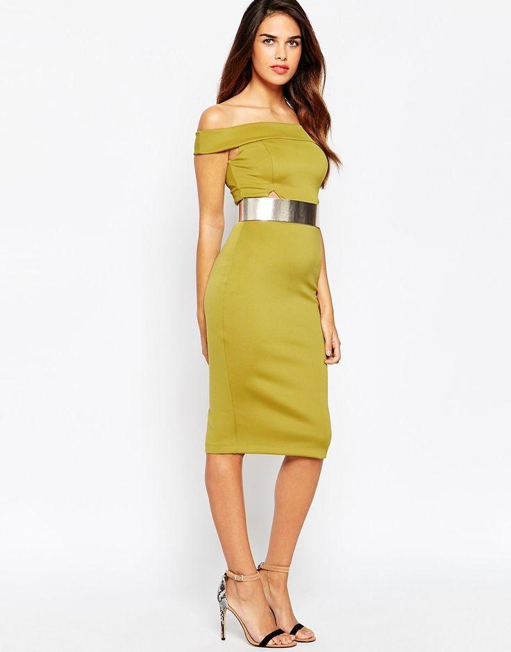 ASOS+Bardot+Pencil+Dress+With+Metallic+Belt