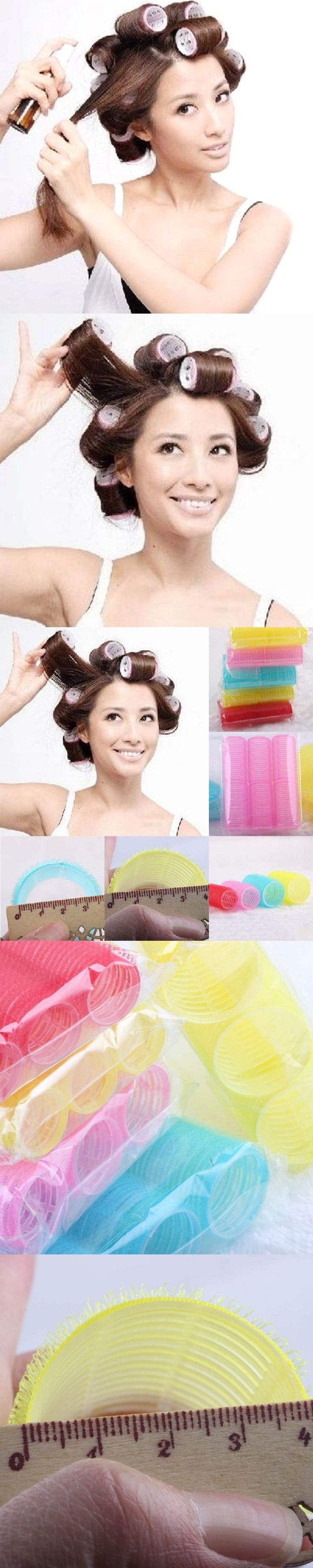 6Pcs/Sets Women Girls Big Self Grip Hair Rollers Cling Any Size DIY Hair Curlers Styling Tools