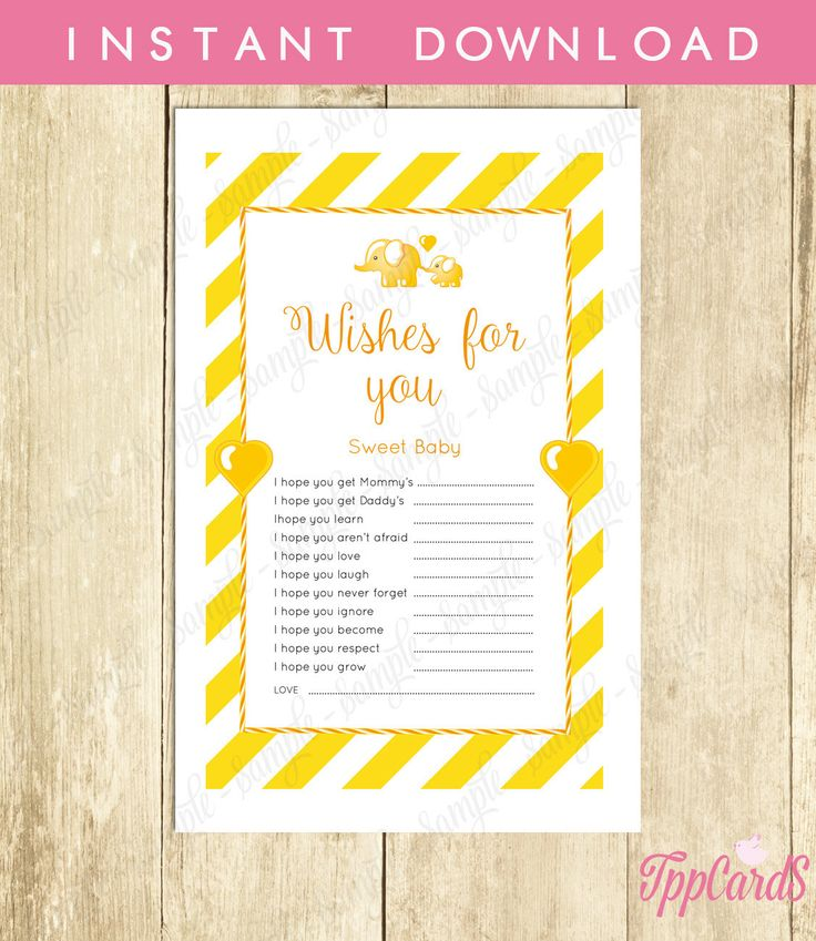 New to TppCardS on Etsy: Instant Download Yellow Elephant Theme Baby Shower Wishes for Baby Game Cards Printable Wish for Baby Yellow Elephant Baby Shower (2.00 EUR)