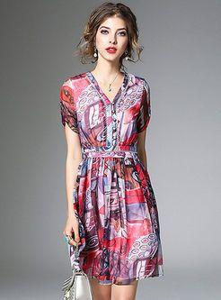 Summer Floral Print High Waist A-Line Dress