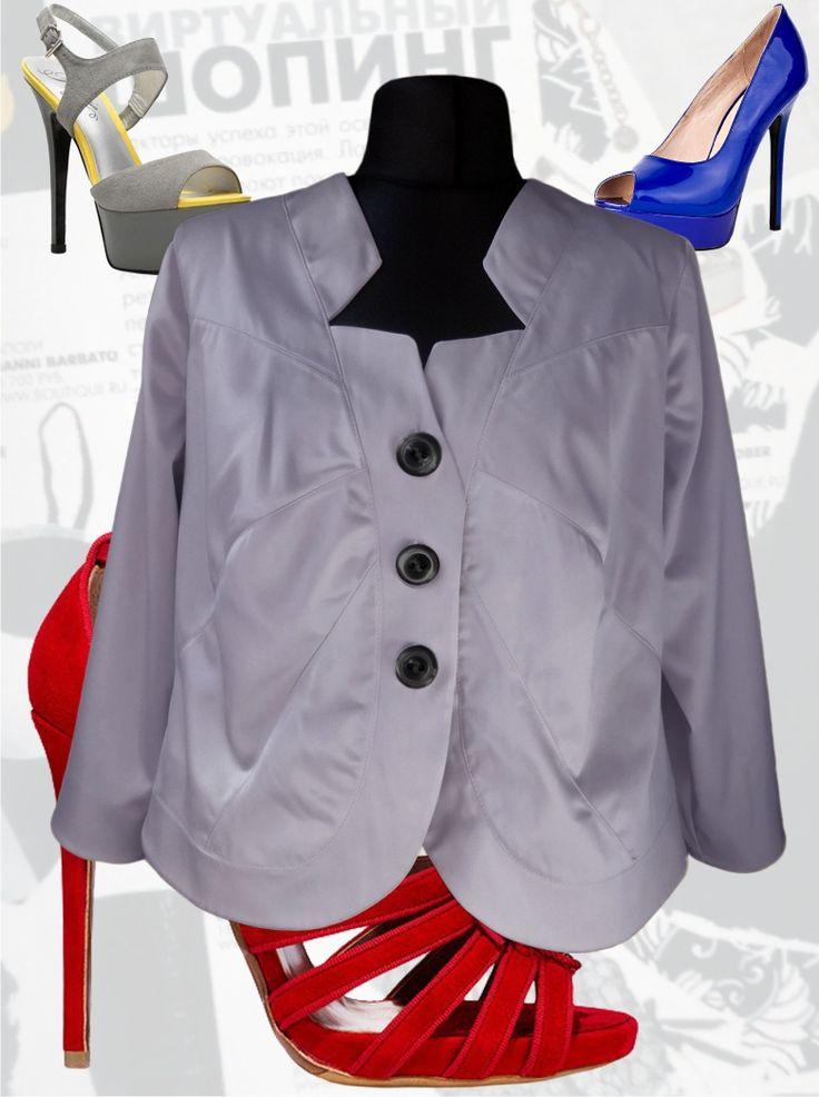 56$ Нарядный пиджак для полных женщин из атласа серого цвета Артикул 382, р50-64 Пиджаки летние большие размеры Пиджаки модные большие размеры Пиджаки короткие большие размеры Пиджаки женские большие размеры  Пиджаки атласные большие размеры Пиджаки офисные большие размеры  Пиджаки деловые большие размеры