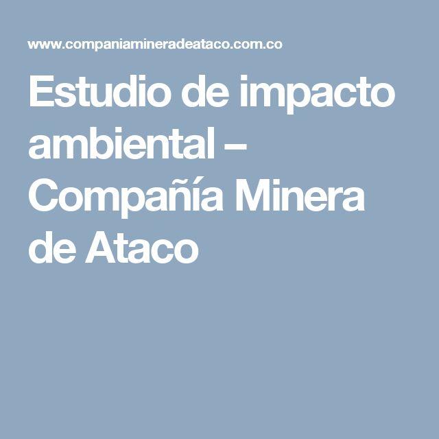 Estudio de impacto ambiental – Compañía Minera de Ataco