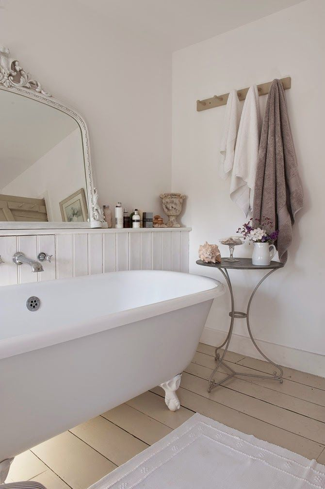 Gorgeous #shabby #white #bathroom. this would be nice with silver mirror