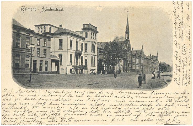 Helmond, Markt de witte villa van P.F. van Vlissingen en op de achtergrond het Liefdegesticht. 1890 - 1900