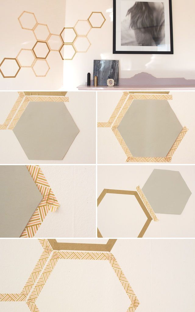 Could totally be any geometric shape. Great temporary wall art! Jade and Fern | How to Make a Totally Removable Honeycomb Wall Decal | http://jadeandfern.com