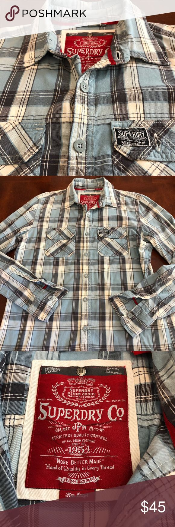 Superdry Flannel For sale is a men's size Large (this brand fits about a size smaller) Superdry long sleeve button up flannel in great condition. Superdry Shirts Casual Button Down Shirts
