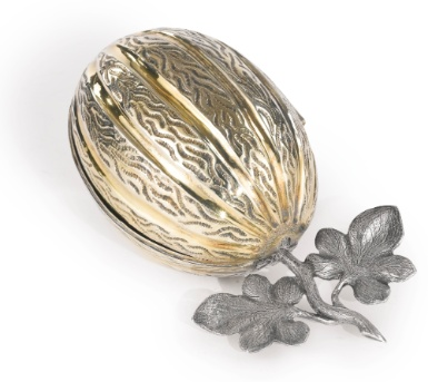 An Austrian parcel-gilt silver etrog box, 1807; a citrus fruit, the etrog is one of the Four Species (said to symbolise the four types of Jew) that feature at Sukkot, when it is protected by being stored in such a box.