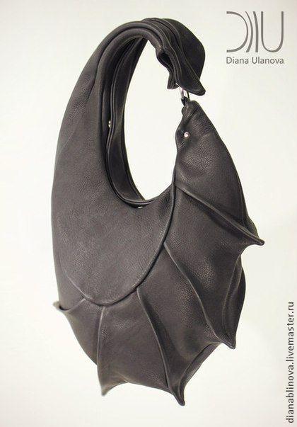 сумка кожаная КОКОН - чёрный,однотонный,сумка женская,сумка ручной работы