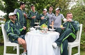 (L to R) Nathan Lyon, Mitchell Starc, Josh Hazlewood, Steve Smith, Mitchell Marsh, Chris Rodgers and Peter Siddle of Australia pose for the camera's as they enjoy an Australian afternoon tea during the Australian Ashes Squad Welcome BBQ at The Kensington Roof Garden
