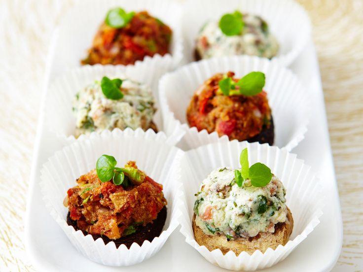 Découvrez la recette Champignons farcis pour l'apéro sur cuisineactuelle.fr.