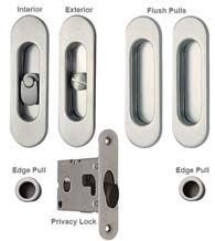 Contemporary Oval Double Pocket Door Lock Set, Reguitti SDK068PV/PA. 184